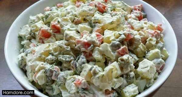 سالاد روسی, salad rousi ,طرز تهیه سالاد روسی,دستور سالاد روسی, shghn v,sd