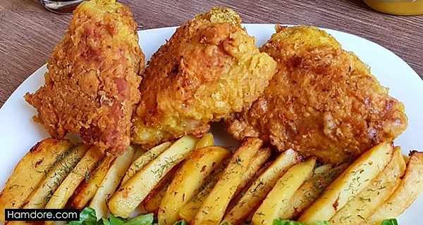 مرغ کنتاکی, morgh-kentaki ,طرز تهیه مرغ کنتاکی,دستور پخت مرغ کنتاکی, lvy ;kjh;d