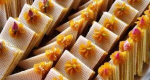 آموزش طرز تهیه حلوای میکادو زعفرانی رولتی خوشمزه با نان میکادو